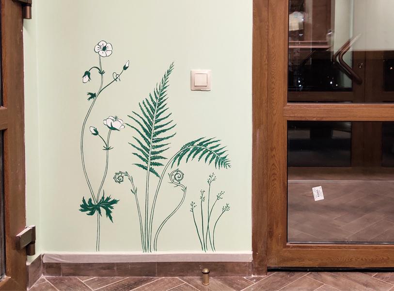 роспись растения на стене