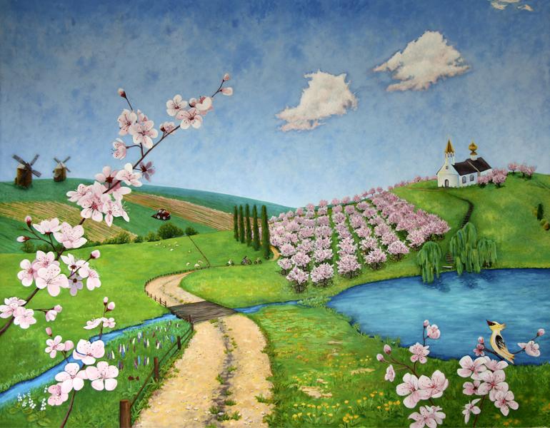 роспись стен в детской комнате, пейзаж, цветущие сады, счастливая семья
