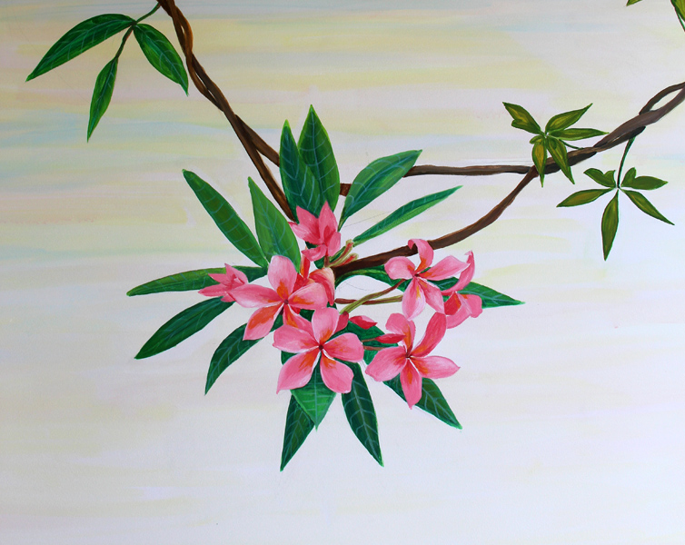 роспись цветы на стене
