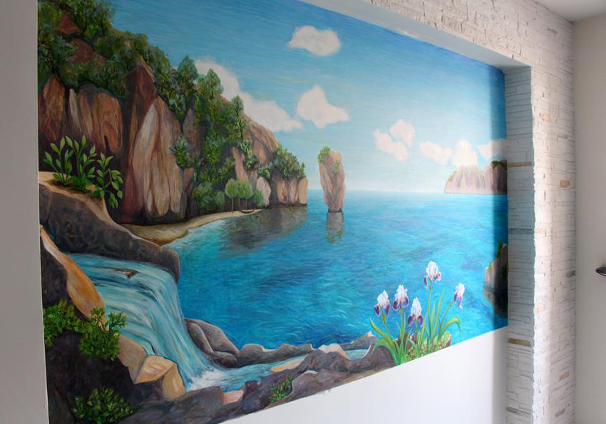 Роспись стен на кухне море