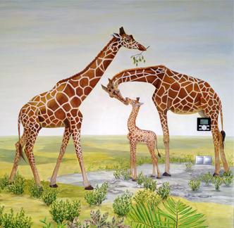 Роспись детской комнаты - жирафы