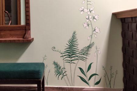 Роспись сна стене растения