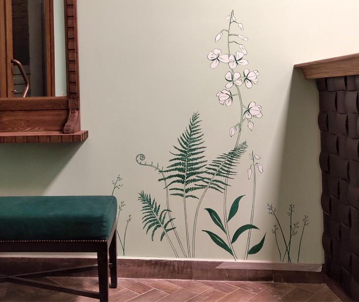 Роспись на стене растения
