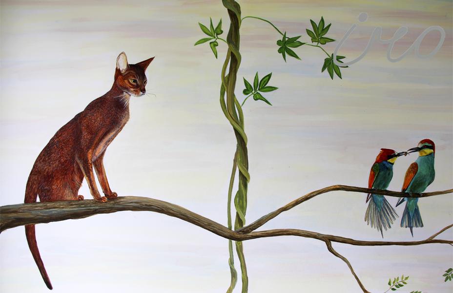 Роспись стен кошка с птичками