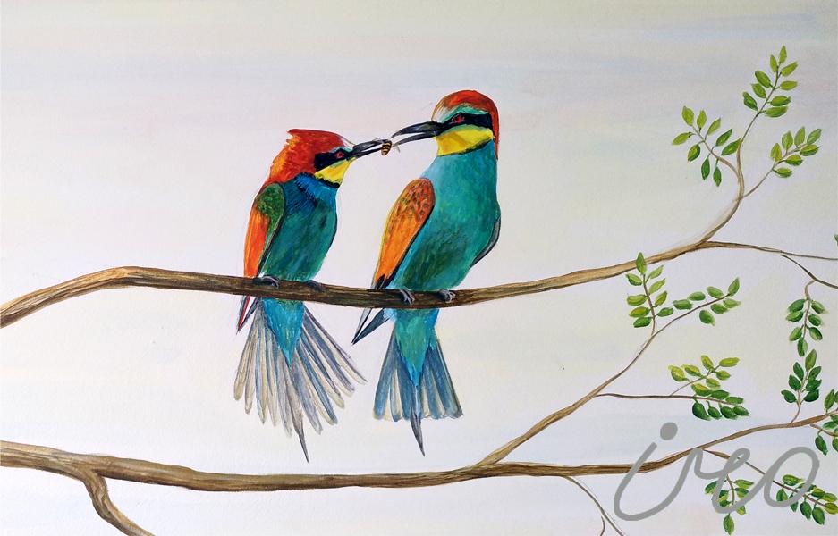 Птицы роспись на стене