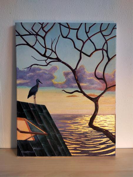 Oil on canvas sunset stork